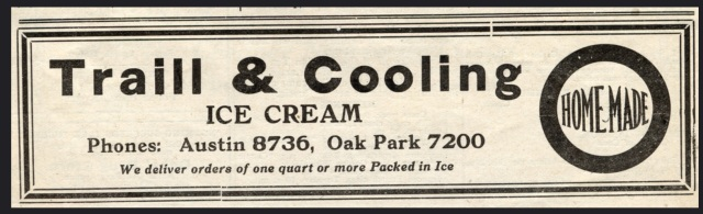 Traill & Cooling Ice Cream, Austin & Oak Park, IL, Oak Leaves newspaper ad, Saturday, December 1, 1917