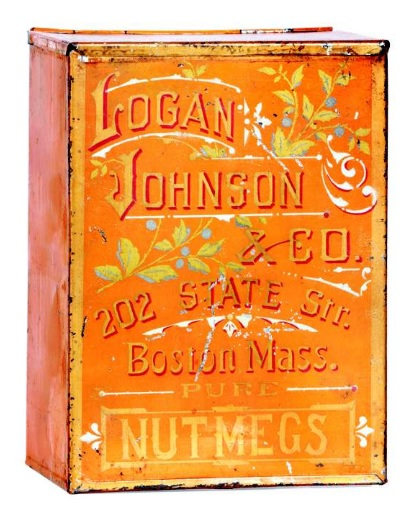 "Early Spice Bin. 7-5/8 x 5.5 x 3.75"" very early hand-soldered small store sized spice bin for Logan Johnson & Co.'s (Boston, MA) nutmeg spice, featuring wonderful decorative lettering and paint surface."
