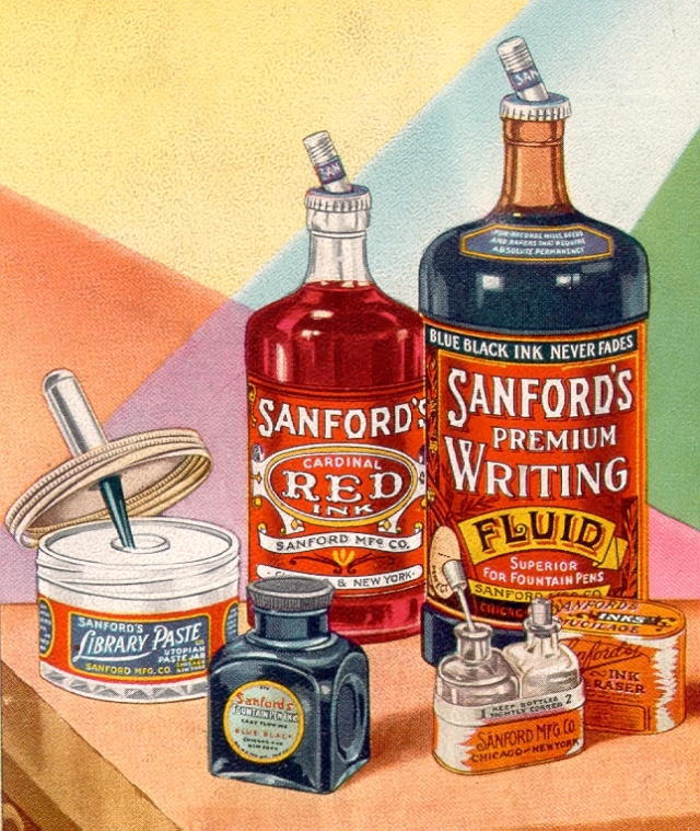 A 1928 advertisement for Sanford's most popular products
