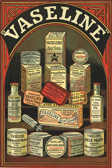 1884 Chesebrough Manufacturing Company products including skin and hair cosmetics, soaps, confectionary, boot polish and axle paste.