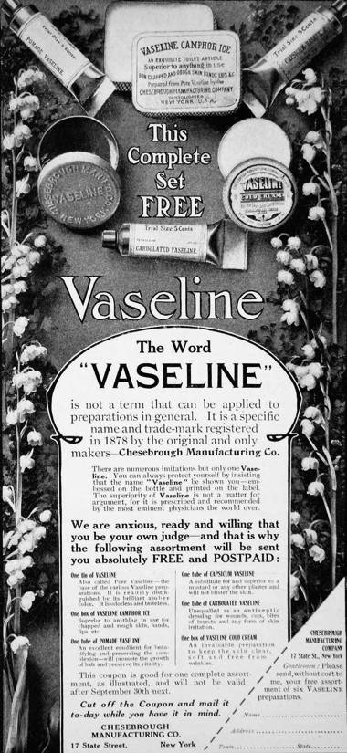 1905 ad for Vaseline.