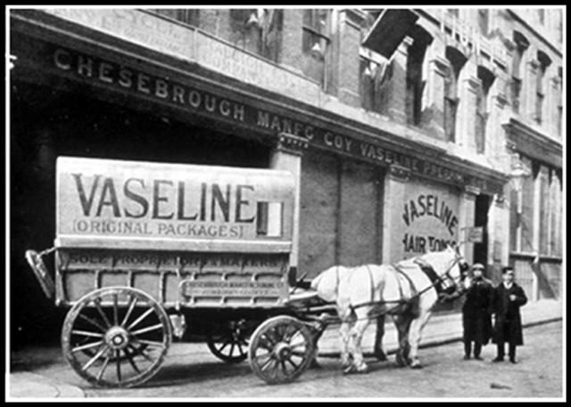 Vaseline horse drawn wagon.  Image is from Vaseline company archives, date unknown.
