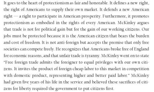 Excerpt from William McKinley, Apostle of Protectionism, by  Quentin R. Skrabec, 2008