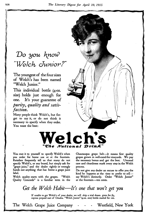 1915 ad for Welch's junior bottle in The Literary Digest, Volume 50 (Google eBook), April 10, 1915