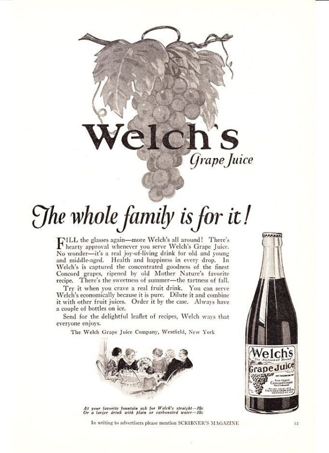 1924 Welch's Grape Juice Bottle print ad