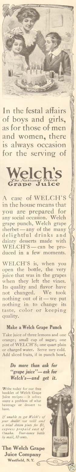 1912 ad for Welch's Grape Juice