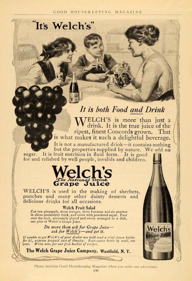 1912 black and white print ad for Welch's Grape Juice