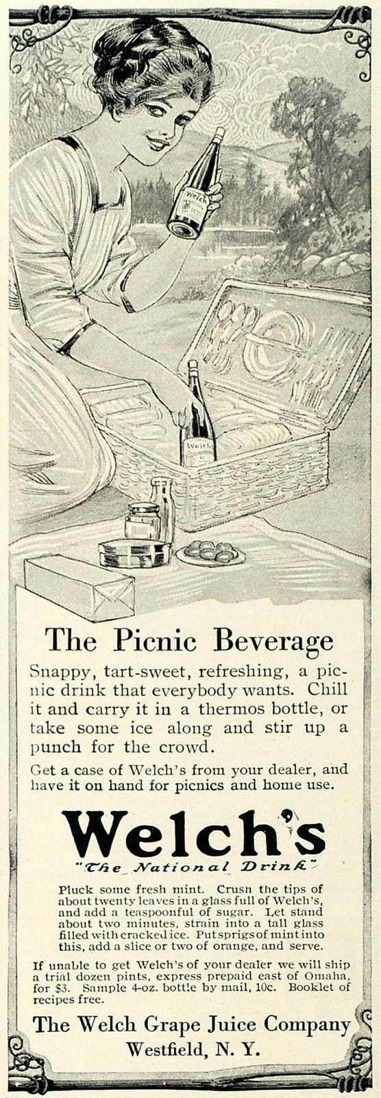1913 black and white print ad for Welch's grape juice