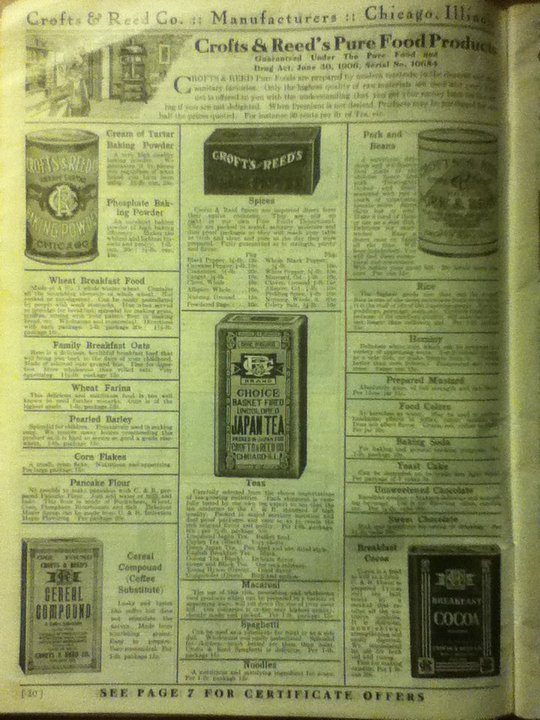 Crofts & Reed Company 1913 catalog page of pure food products.