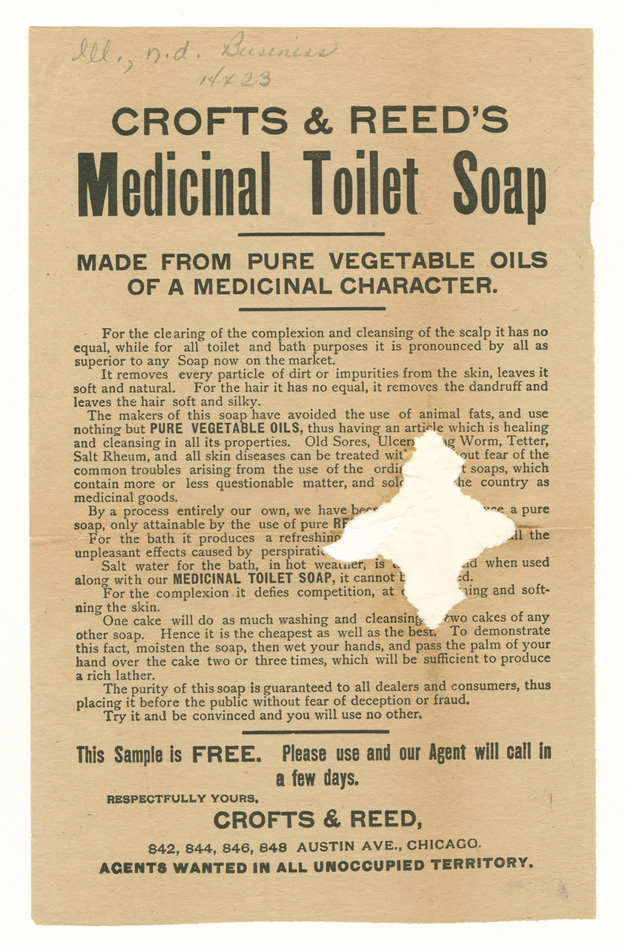 Ad for Crofts & Reed's medicinal toilet soap, 1890-1910