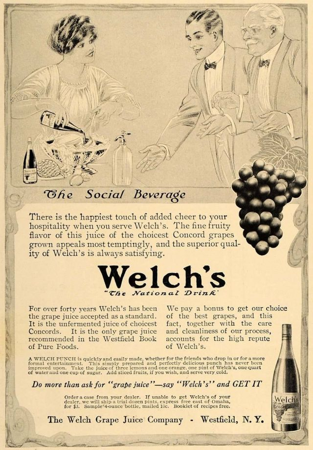 1913 black and white print ad for Welch's Concord Grape Juice