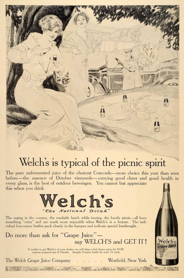 1914 black and white print ad for Welch's Grape Juice