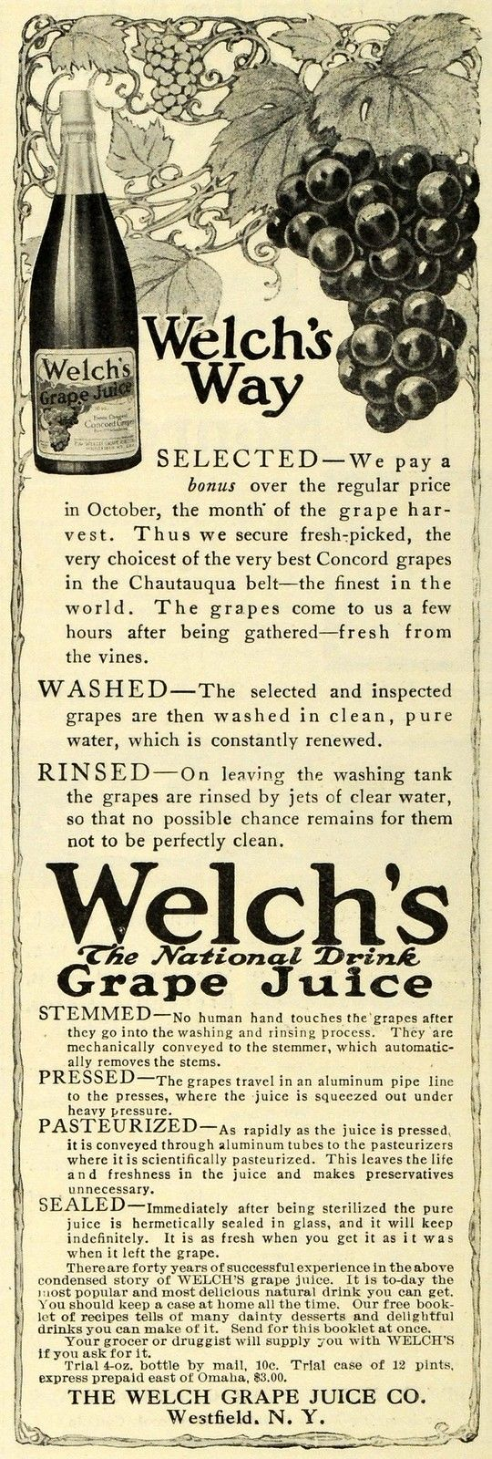 1911 print ad for Welch's Grape Juice
