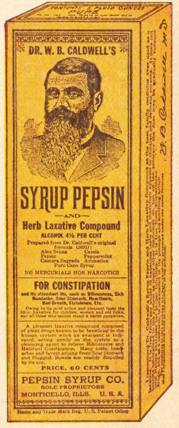 Box front for Dr. Caldwell's Syrup Pepsin, date unknown