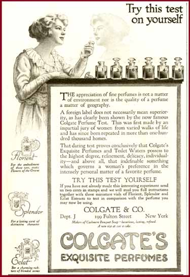 1916 Ad for Colgate's Exquisite Perfumes