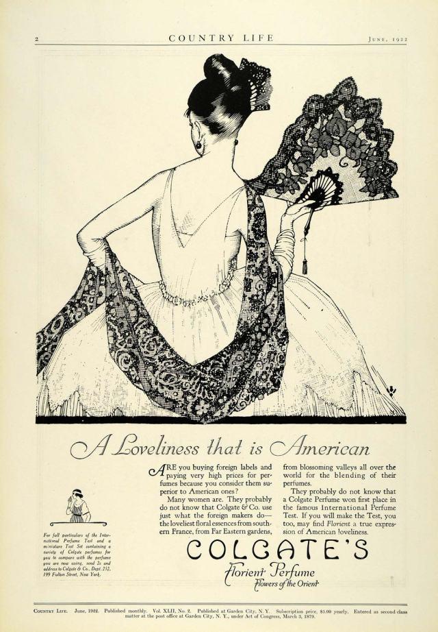 Colgate's Florient Flowers Orient Perfume Ad, 1922
