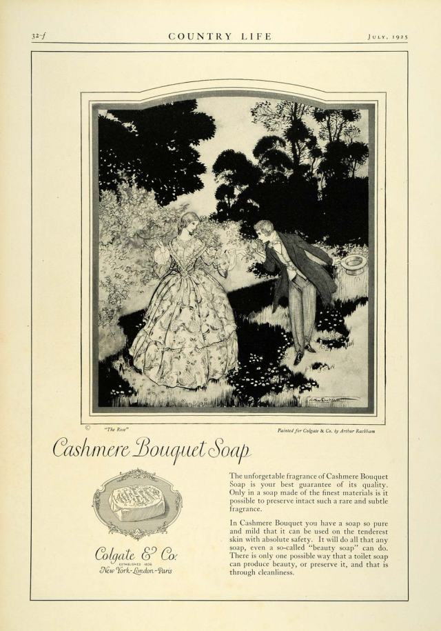 "1925 ad for the Cashmere Bouquet Soap from Colgate and Company. This ad features a painting of ""The Rose"" by the artist Arthur Rackham."