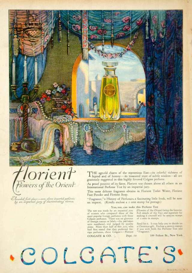Colgate's Florient Flowers Orient Perfume Ad, 1921