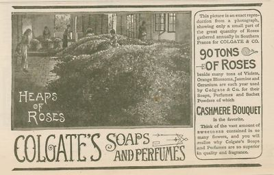 """1890 """"Heaps of Roses"""" advertisement for Colgate soaps and perfume"""