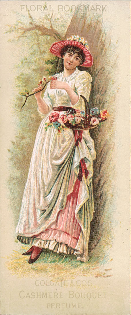 Colgate's Cashmere Bouquet Perfume advertising bookmark, 1880s
