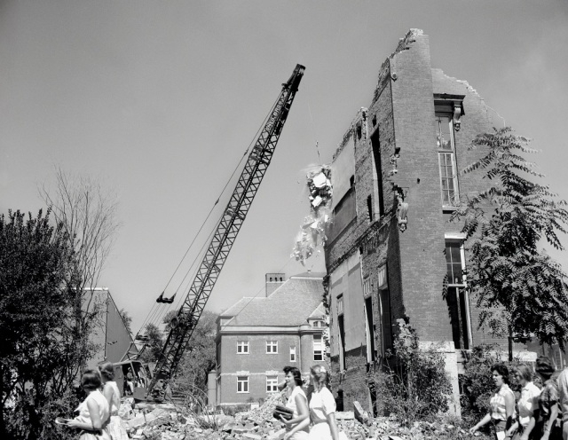 The demolition of Old Main in 1958. Image courtesy of Illinois State University Archive. Image number ISUAPSC - 1603I - 9 – 1958.