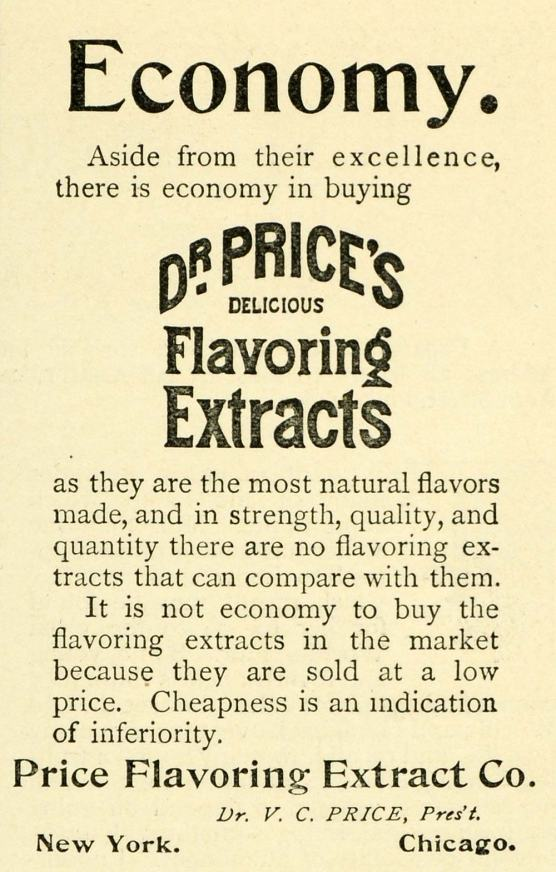1893 Ad for Dr. V. C. Price's Flavoring Extracts
