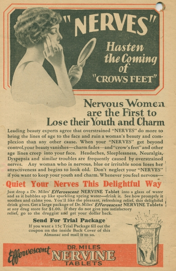 1930s Dr. Miles' Nervine Tablets Ad for women