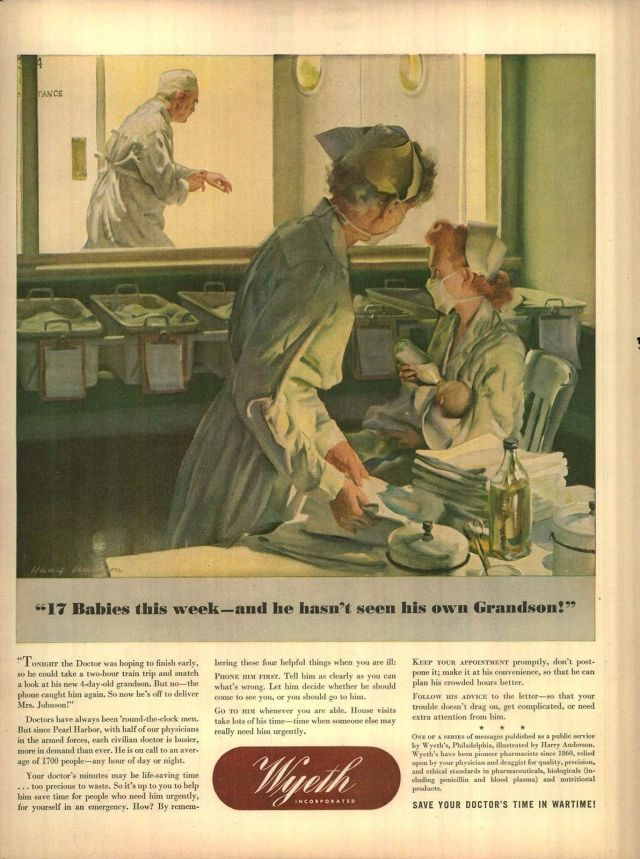 1944 Wyeth Ad of Doctor delivering babies