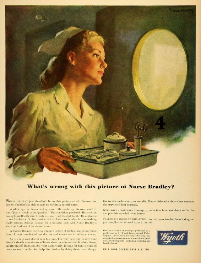 1945 Wyeth Ad with WWII Military Nurse