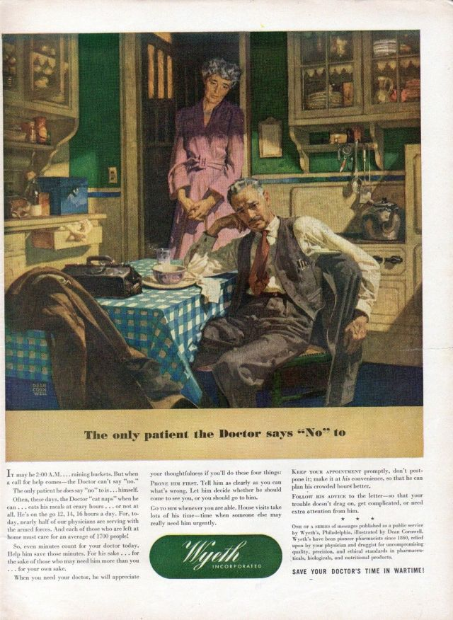 1944 Wyeth Ad with Doctor at Home