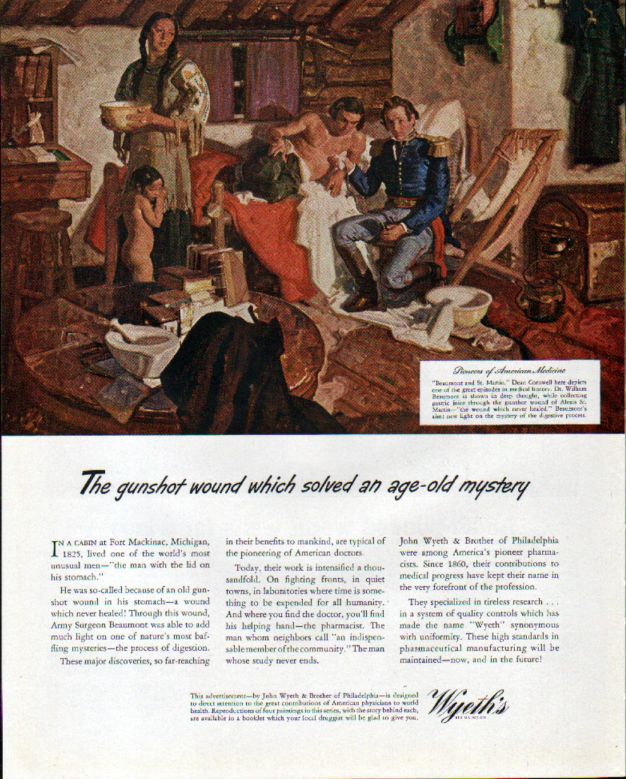 1943 Wyeth Ad with Pioneers of American Medicine