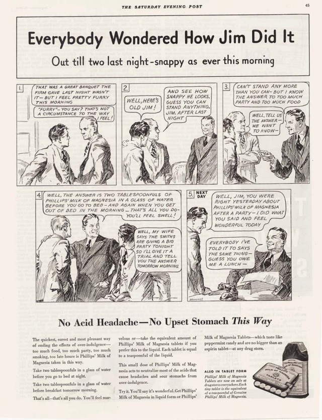 1935 ad for Phillips' Milk of Magnesia