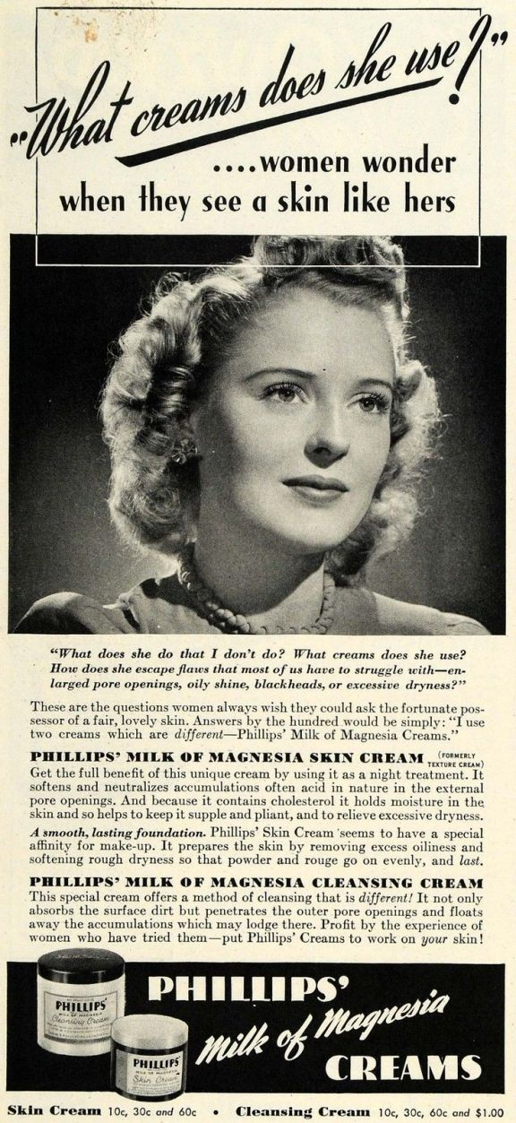 1942 Ad for Phillips Milk of Magnesia Skin Cream