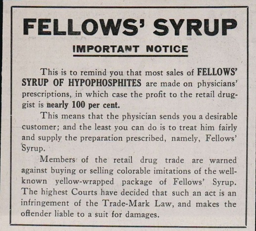 1913 Print Ad for Fellows Syrup