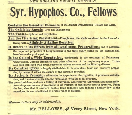 An advert from 1899 for one of Fellows & Co.'s American agents