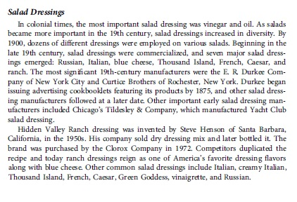 "Excerpt from ""The Business of Food: Encyclopedia of the Food and Drink Industries"" by Gary Allen and Ken Albala, 2007"