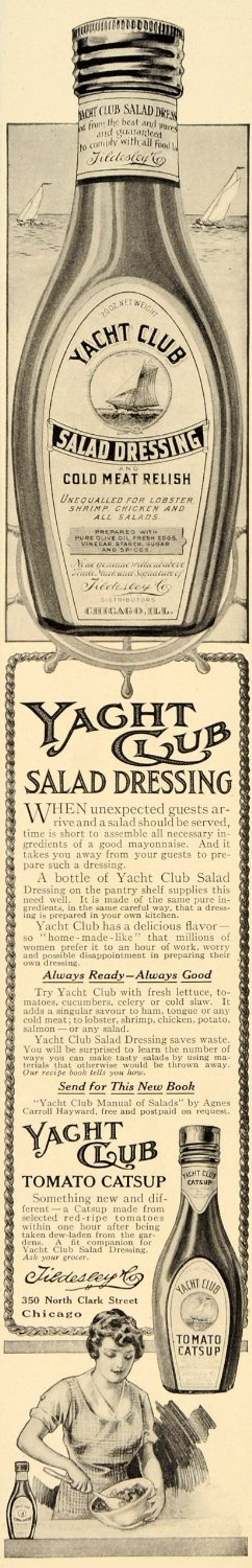 1914 Ad for Yacht Club Salad Dressing