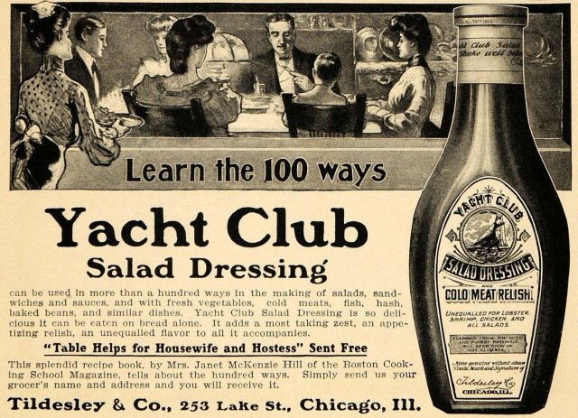 1904 Ad for Tildesley Yacht Club Salad Dressing
