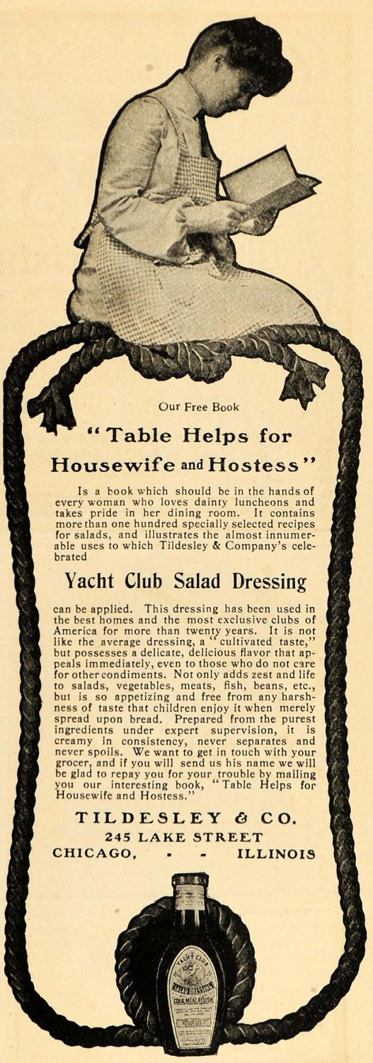 1903 Ad for Tildesley Yacht Club Salad Dressing