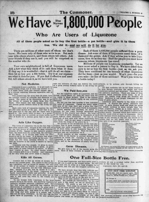 Ad from the Nebraska Commoner, October 21, 1904.
