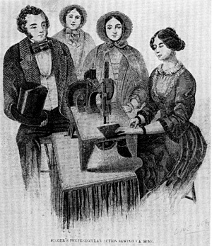 "Singer's Perpendicular Action sewing machine, an engraving from Illustrated News, June 25, 1853, which states: ""The sewing machine has, within the last two years acquired a wide celebrity, and established its character as one of the most efficient labor saving instruments ever introduced to public notice.... We must not forget to call attention to the fact that this instrument is peculiarly calculated for female operatives. They should never allow its use to be monopolized by men."" (Smithsonian photo 48091-D.)"