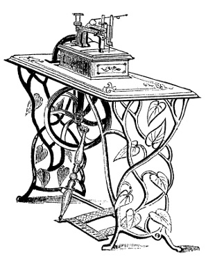 "Singer's new Family Sewing Machine, illustration from a brochure dating about 1858 or 1859 which states: ""A few months since, we came to the conclusion that the public taste demanded a sewing machine for family purposes more exclusively; a machine of smaller size, and of a lighter and more elegant form; a machine decorated in the best style of art, so as to make a beautiful ornament in the parlor or boudoir; a machine very easily operated, and rapid in working.... To supply this public want, we have just produced, and are now prepared to receive orders for, 'Singer's new Family Sewing Machine.'"" (Smithsonian photo 48091-H.)"