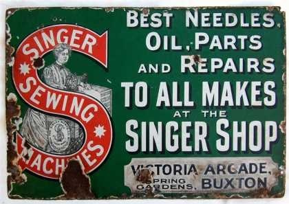 Singer Sewing Machine Shop advertising sign. Date unknown.