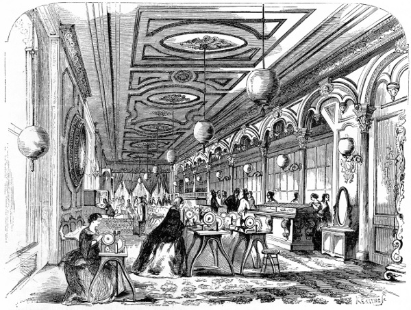 M. Singer & Co. New York showroom of the mid-1850s, as illustrated in Frank Leslie's Illustrated Newspaper, August 29, 1857; only manufacturing machines are shown in this illustration. (Smithsonian photo 48091-B.)