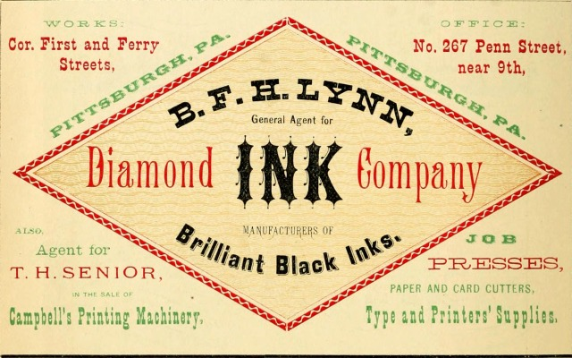 Ad for Diamond Ink distributor, date unknown.