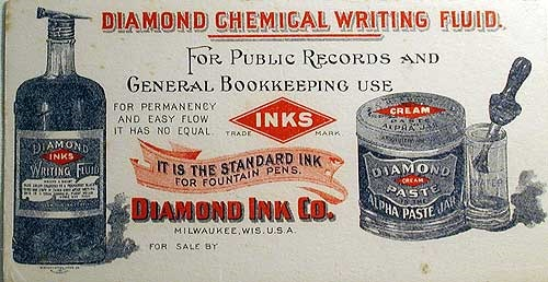 Ad for Diamond chemical writing fluid, date unknown.