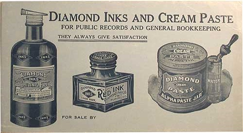 Ad for Diamond Inks and cream paste, date unknown.