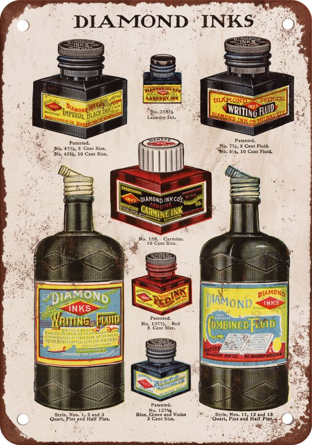 1913 advertisement for Diamond Ink, reproduced on a vintage style metal sign.