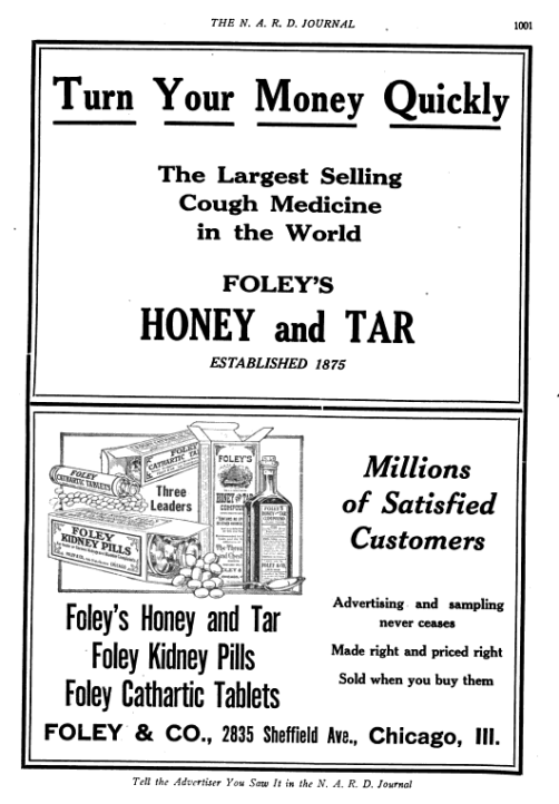 Foley's advertising directed at retail druggists.  From National Association of Retail Druggists Journal, Volume 34 (Google eBook), 1922