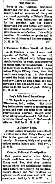 Supposed testimonials from Foley customers.  Excerpt from True Republican Newspaper, January 7, 1905.